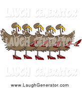 Humorous Clip Art of a Turkey Birds in High Heels, Kicking Their Legs up While Dancing in a Chorus Line by Djart