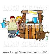Humorous Clip Art of a Unaware Boy and Girl Preparing Beverages at Their Lemonade Stand While Their Dog Pees in a Cup for an Unsuspecting Customer by Djart