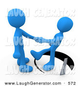 Humorous Clip Art of a Unsuspecting Blue Person Shaking Hands on a Deal with Another Man As a Saw Cuts a Circle out from Under Him and He Slips on White by 3poD