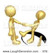 Humorous Clip Art of a Unsuspecting Golden Person Shaking Hands on a Deal with Another Man As a Saw Cuts a Circle out from Under Him and He Slips by 3poD