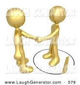 Humorous Clip Art of a Unsuspecting Golden Person Shaking Hands on a Deal with Another Man As a Saw Cuts a Circle out from Under Him on White by 3poD