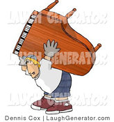 Humorous Clip Art of a Very Strong Man Moving a Heavy Grand Piano by Djart