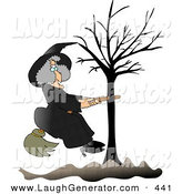Humorous Clip Art of a Warty Old Female Witch in Black, Sitting on a Broom That Is Stuck in a Bare Tree by Djart