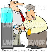 Humorous Clip Art of a Watchful Boss Keeping a Close Eye on an Employee Filling His Cup with Water by Djart