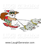 Humorous Clip Art of a Water Skiing Santa with Dolphins by Dennis Holmes Designs