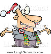 Humorous Clip Art of a Welcoming Caucasian Man at a Christmas Party by Toonaday
