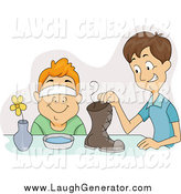 Humorous Clip Art of a White Boy Tricking His Friend into Smelling a Shoe by BNP Design Studio