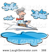 Humorous Clip Art of a White Business Man Steering a Paper Plane Through Clouds by Jtoons
