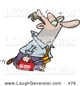 Humorous Clip Art of a White Business Man Walking with a Can of Gasoline Because His Car Ran out of Gas by Toonaday