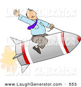 Humorous Clip Art of a White Businessman Flying on a Rocket by Djart