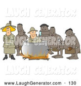 Humorous Clip Art of a White Couple, a Man and Women, American Tourists, Caught by Native Cannibals in a Foreign Country with the Man Being Cooked in the Pot and the Woman Tied to a Pole by Djart