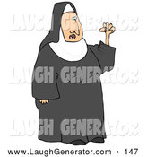 Humorous Clip Art of a White Frustrated Nun in Black and White Waving Her Fist in the Air While Arguing by Djart