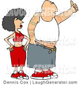 Humorous Clip Art of a White Gangster Man and Woman Hitchhiking by Djart