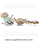 July 4th, 2014: Humorous Clip Art of a White Guy Struggling to Hold Back His Dog from Chasing a Squirrel by Gnurf