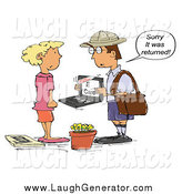August 14th, 2014: Humorous Clip Art of a White Mailman Holding a Laptop with an E-Card and Telling a Woman That It Was Returned to Sender by Spanky Art