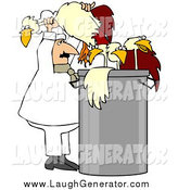 Humorous Clip Art of a White Male Chef Stuffing Chickens in a Soup Pot by Djart