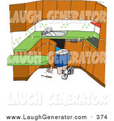 Humorous Clip Art of a White Male Plumber Kneeling to Work on Pipes Under a Sink by Dennis Holmes Designs