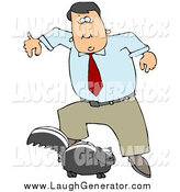Humorous Clip Art of a White Man Leaping Back from a Skunk That Is Preparing to Spray by Djart