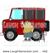 Humorous Clip Art of a White Man Standing a Ladder by His Lifted Hummer Car by Djart