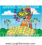 Humorous Clip Art of a White Man Taking Nap and Resting Against a Tree with Birds Sleeping in His Hat by Pauloribau