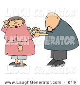 Humorous Clip Art of a White Man Trying to Turn His Wife on by Using the Switch on Her Back by Djart