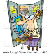 Humorous Clip Art of a White Man Using a Computer in a Cramped Cubicle by Toonaday