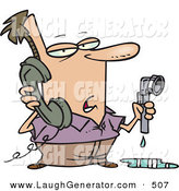 Humorous Clip Art of a White Man with a Leaky Pipe, Calling a Plumber by Toonaday