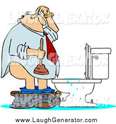 Humorous Clip Art of a White Man with a Plunger over a Clogged Toilet by Djart