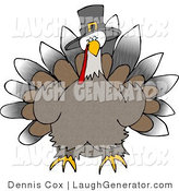 Humorous Clip Art of a Wild Thanksgiving Turkey Wearing a Black Pilgrim Hat and Facing Forward by Djart