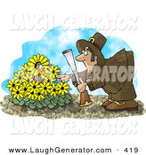 Humorous Clip Art of a Wild Turkey in a Yellow Daisy Patch, Hiding from a Pilgrim with a Shot Gun by Djart