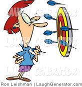 Humorous Clip Art of a Woman Throwing Darts at a Target, Missing the Bullseye by Toonaday
