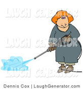 Humorous Clip Art of a Woman Using a Pressure Washer on the Ground by Djart
