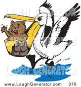 Humorous Clip Art of a Wombat Being Transported in a Pelicans Beak by Dennis Holmes Designs