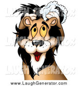 Humorous Clip Art of a Yellow Eyed Male Lion Washing His Luxurious Mane with Shampoo by Dero
