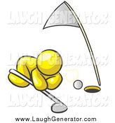 Humorous Clip Art of a Yellow Man Trying to Blow a Golf Ball into the Hole by Leo Blanchette
