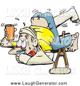 Humorous Clip Art of an Accident Prone White Man Covered in Casts and Slings, Holding up His Beverage to Avoid Spilling After Tripping over His Crutches by Dennis Holmes Designs
