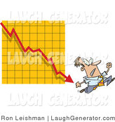 Humorous Clip Art of an Afraid Man Running from a Bar on a Declining Graph by Toonaday