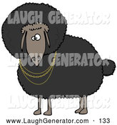 Humorous Clip Art of an African American Black Sheep Wearing Golden Necklaces and Looking Outwards by Djart