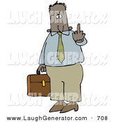 Humorous Clip Art of an Angry Hispanic or Black Business Man Carrying a Briefcase and Flipping Someone off for Being Rude by Djart