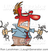 Humorous Clip Art of an Angry Red Faced Man Holding Torn Computer Wires, Mad at His Slow Computer by Toonaday