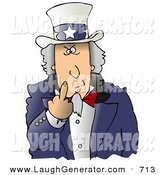June 8th, 2013: Humorous Clip Art of an Angry Uncle Sam Flipping off the Viewer, on White by Djart