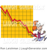 Humorous Clip Art of an Angry Woman Running from a Bar on a Declining Graph by Toonaday