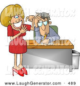 Humorous Clip Art of an Annoyed Businessman with a Dumb Blonde Secretary Counting Her FingersAnnoyed Businessman with a Dumb Blonde Secretary Counting Her Fingers by Djart