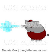 Humorous Clip Art of an Anthropomorphic Elephant Spraying Water from His Trunk like a Pressure Washer by Djart