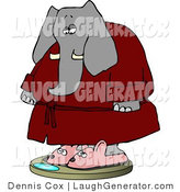 Humorous Clip Art of an Anthropomorphic Obese Elephant Wearing Bathrobe and Mouse Slippers While Weighting in on a Scale by Djart