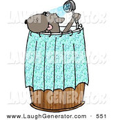 Humorous Clip Art of an Anthropomorphic Pet Dog Showering by Djart