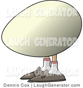 Humorous Clip Art of an Egg with Human Legs and Feet Looking Left by Djart