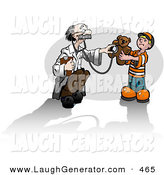February 17th, 2013: Humorous Clip Art of an Elderly Doctor Man Humoring a Cute Little Boy While Holding a Stethoscope up to a Teddy Bear by Leo Blanchette
