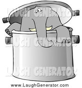 Humorous Clip Art of an Elephant in a Giant Pot by Djart