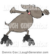 Humorous Clip Art of an Energetic and Happy Dog Roller Skating with His Tongue out by Djart